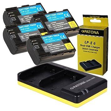 Dual Cargador PATONA + 4x Bateria para Premium Canon LP-E6 ...