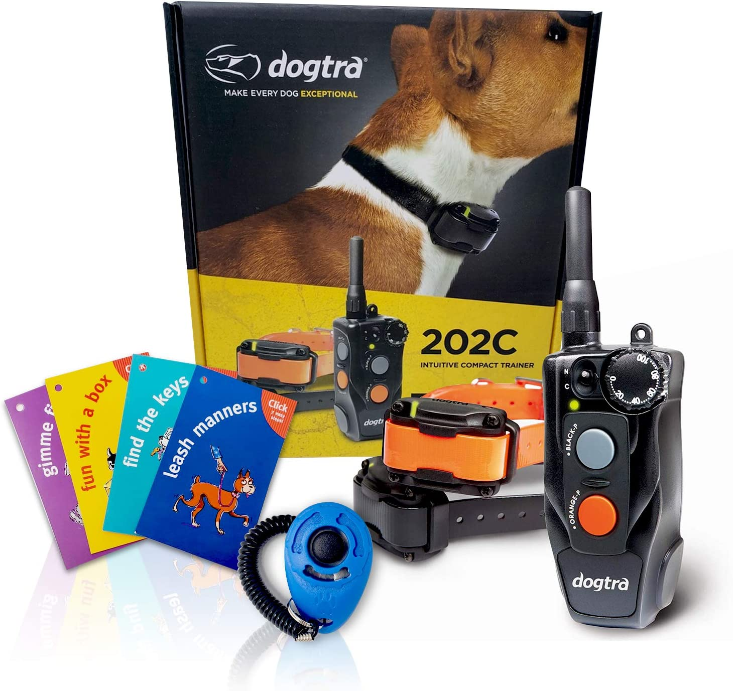 Dogtra 200C / 202C Remote Training Collar - 1/2 Mile Range, Rechargeable, Waterproof - Plus 1 iClick Training Card, Jestik Click Trainer - Value Bundle (2 Dogs System - 202C)