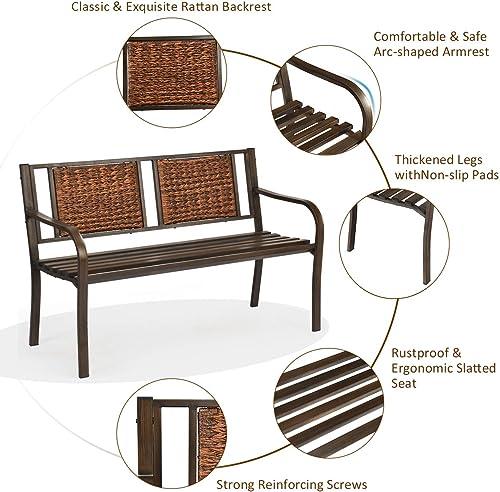 Giantex Patio Garden Bench Heavy-Duty Ergonomic Loveseat W/Powder Coated Steel Frame,Decorative Rattan Backrest Curved Armrest