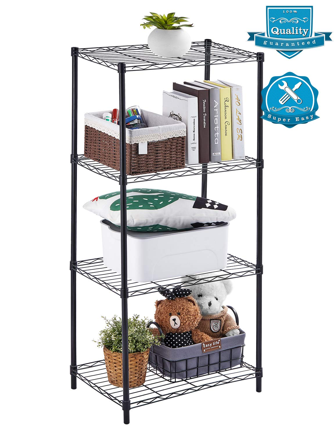 AOOU Shelf 4 Tier Shelving Unit, Wire Shelf Unit Free Standing, Classic Metal Steel Storage Rack Sturdy for use in Pantry, Living Room, Kitchen, Garage, Coated with Black by AOOU