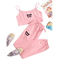 Romwe Girl's 2 Piece Outfit Cami Crop Tops and Sweatpants Set Lounge Set