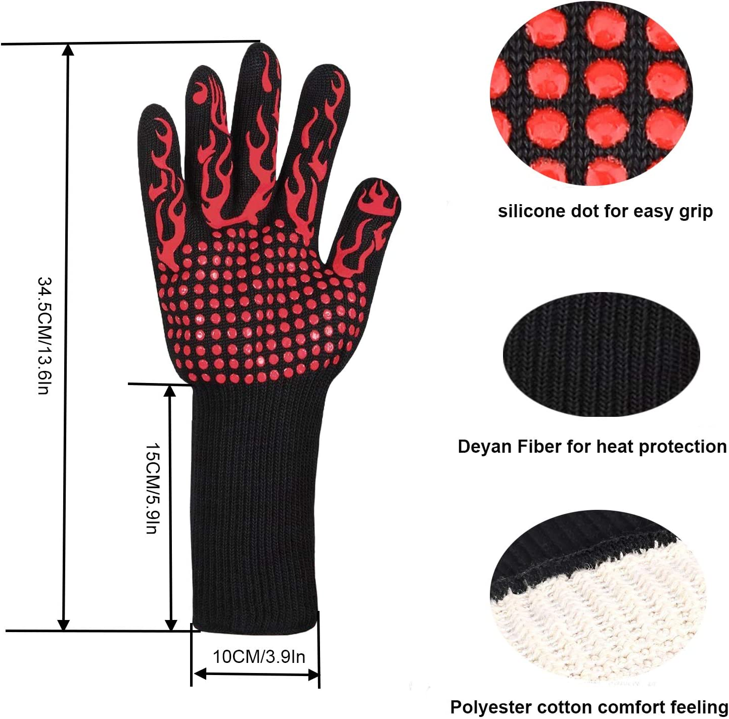Grill Gloves,Heat Resistant BBQ Gloves,Fireproof Insulated Asbestos Oven Mitts,13.7 Full Finger Wrist Protection,with Meat Claws,Basting Brush,BBQ Thermometer 4pcs set,For Baking,Cooking Red