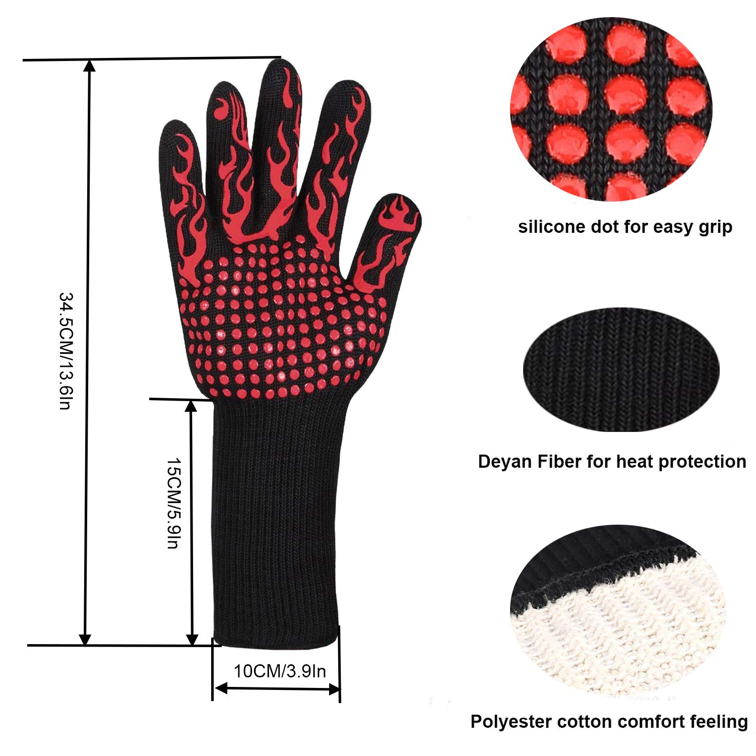 Grill Gloves,Heat Resistant BBQ Gloves,Fireproof Insulated Asbestos Oven Mitts,13.7\