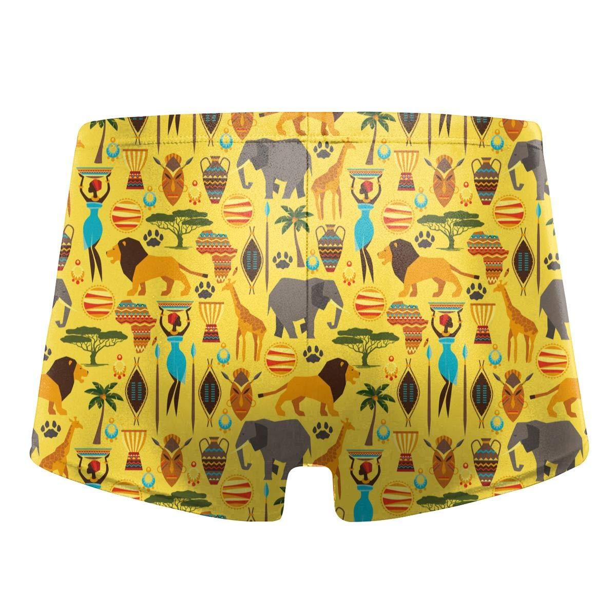 G66TCX Mens Swim Trunks Animal Print Quick Dry Board Shorts Boxer Brief Swimsuit Swim Underwear