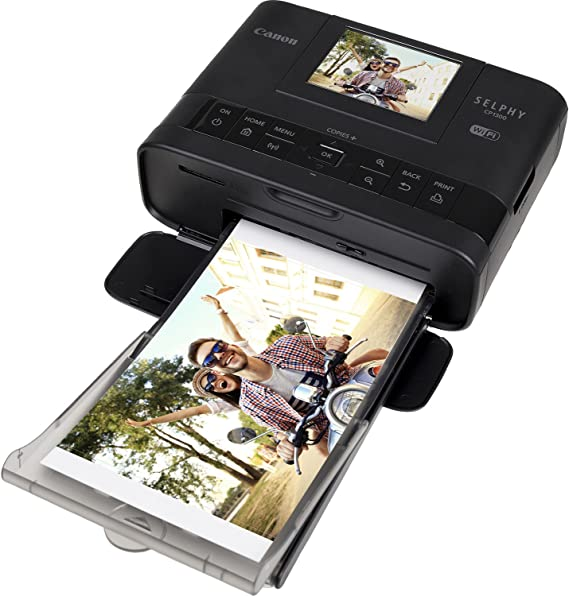 Canon SELPHY CP1300 Wireless Compact Photo Printer (Black) + Canon KP-108IN Color Ink Paper Set (Produces up to 108 of 4 x 6 Prints) + USB Printer ...