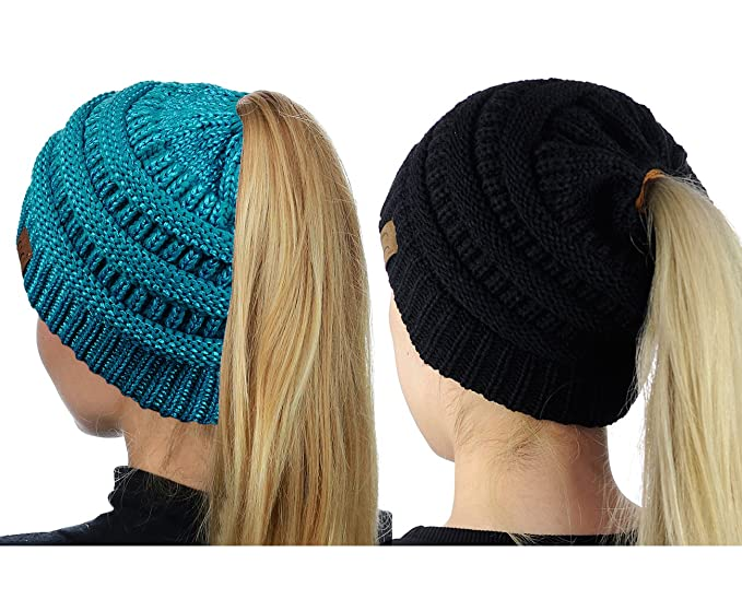 af2161fad03 CC C.C BeanieTail Soft Stretch Cable Knit Messy High Bun Ponytail Beanie Hat
