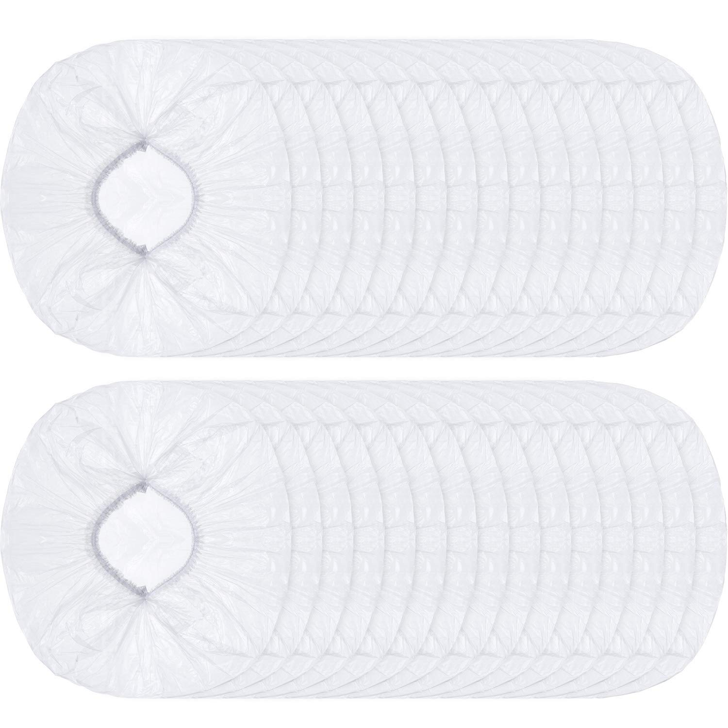 Boao Hair Processing Caps Clear Disposable Shower Caps Plastic Bath Elastic Caps for Water-proof Use or Hair Salon
