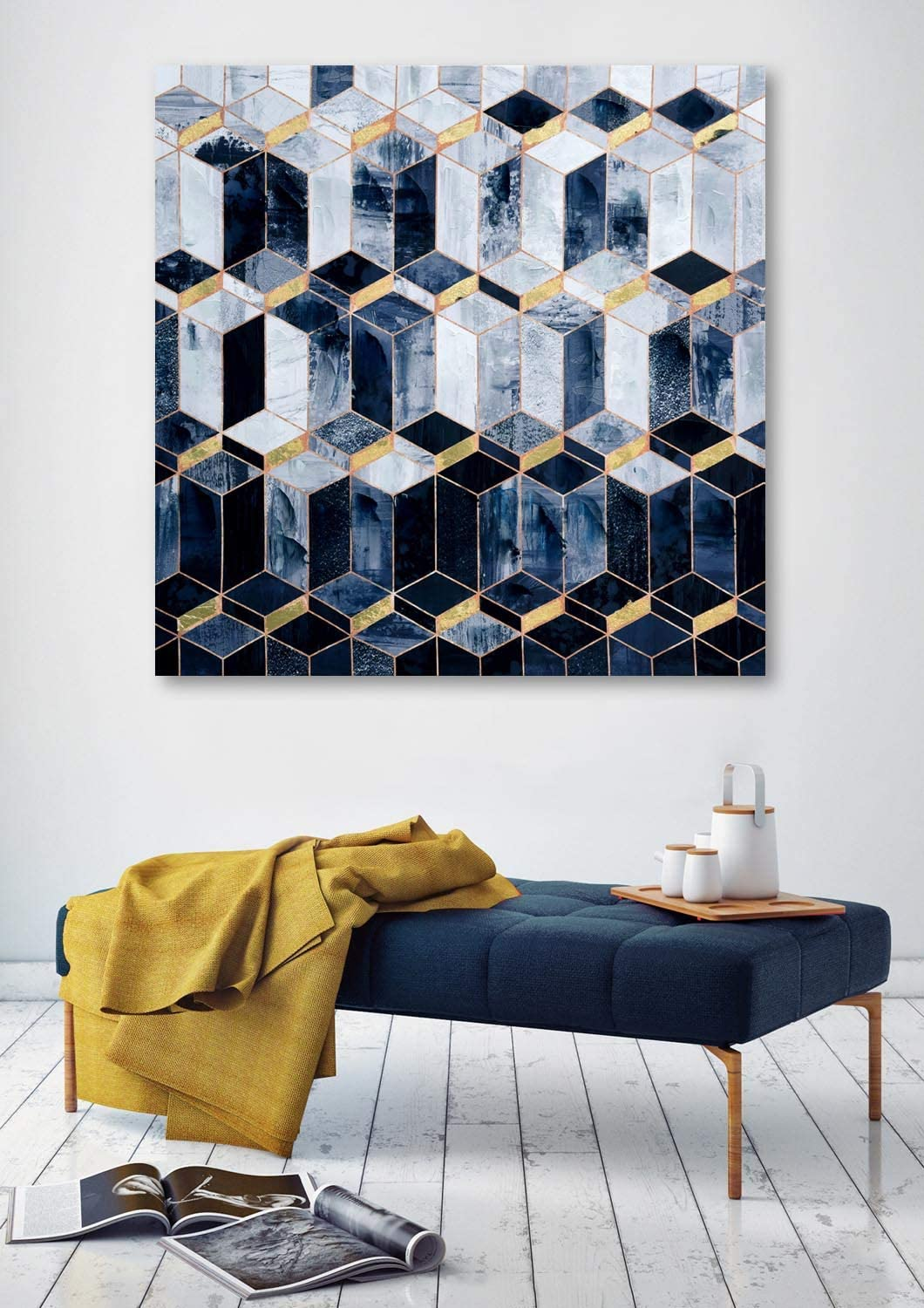 Framed Abstarct Canvas Prints Wall Art for Home, Modern Abstract Oil Paintings, 3D Hand Painted Navy Blue Geometric Patterns Picttures for Living Room Bedroom, Stretched Ready to Hang 32x32 Inch