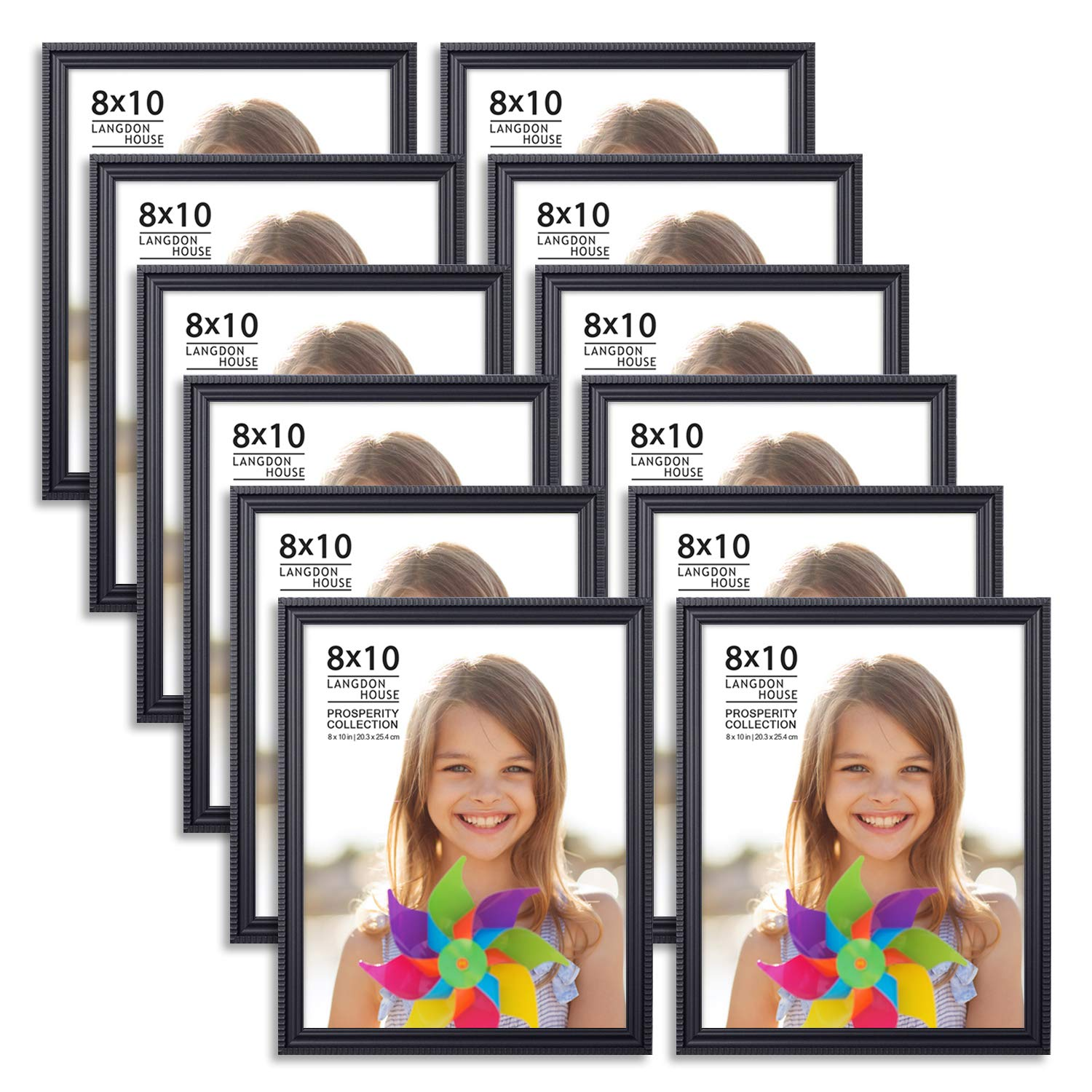 Langdons 8x10 Picture Frames (12 Pack, Black) Black Picture Frame Set, Wall Mount or Table Top, Set of 12 Prosperity Collection