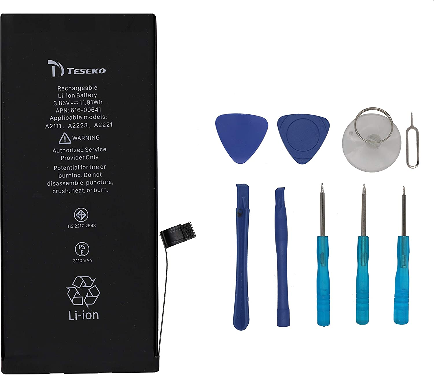 Teseko Battery Replacement for iPhone 11 (A2111、A2223、A2221)+Professional Tool Kit…