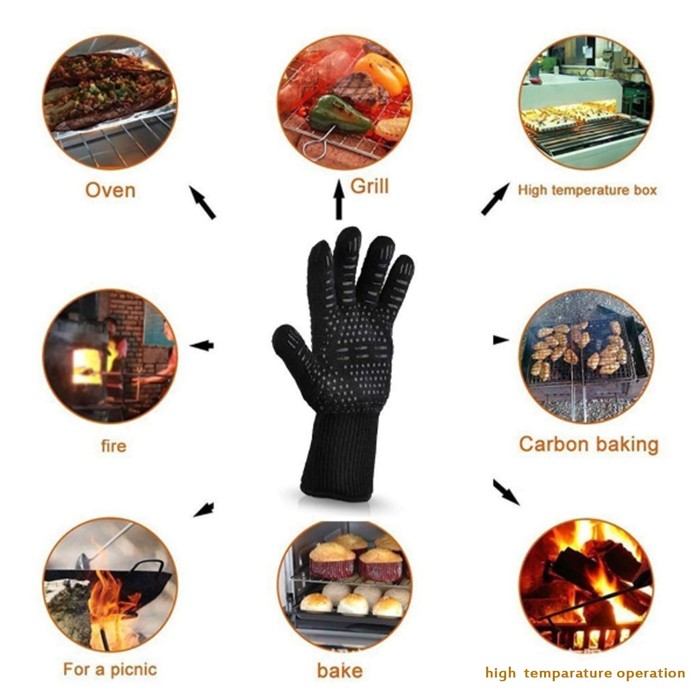 Negro Hornear Cuff extralargo Asar a la Parrilla NO BRAND Durable Guantes de BBQ 932 /° F Guantes de Horno Resistentes al Calor Extremo para cocinar