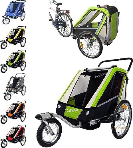 Leon paplioshop plegable bicicleta colgante Buggy con rueda delantera, para 1 o 2 niños, una puerta, New Verde