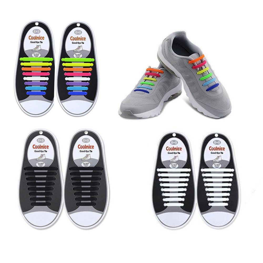cokatre no tie shoelaces子供、幼児と大人用 – 最高のスポーツファンShoelaces – シリコンゴムフラットAthletic Running Shoeスニーカーブーツの靴を靴紐マルチカラー(ブラックとホワイト) B076P21XYP 3-Pack Black-White-Full Color 3-Pack Black-White-Full Color