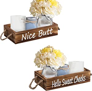 Unistyle Bathroom Decor Box, 2 Sides Farmhouse Rustic Wood Box, Wood Toilet Paper Holder, Toilet Paper Storage Box, Rustic Bathroom Decor (Brown)