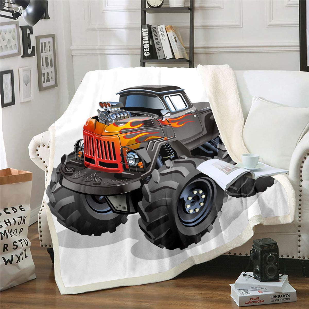 "Monster Truck Fleece Blanket Speed Hobby Sports Sherpa Blanket For Kids Teen Boys Young Man Enormous Wheels Mountain Buggy Car Blanket Throw Fire Vehicle Fuzzy Blanket Sofa Decor Red King 87""x95"""