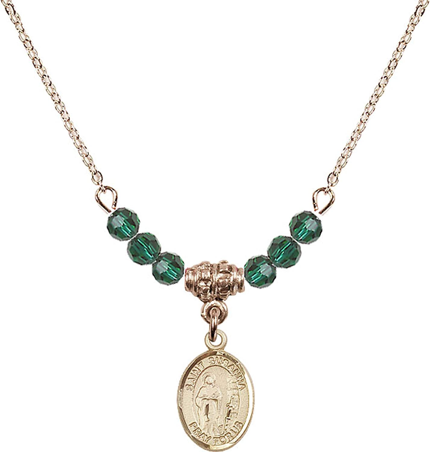 18-Inch Hamilton Gold Plated Necklace with 4mm Emerald Birthstone Beads and Gold Filled Saint Richard Charm.