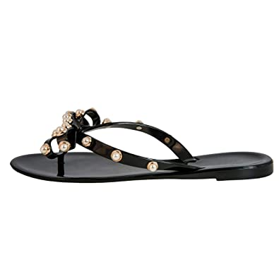 be69c73c0 Pearled Studded Bow Jelly Thong Sandals Valencia-Valentino Rock St Women s  Rockstud Flip Flop (
