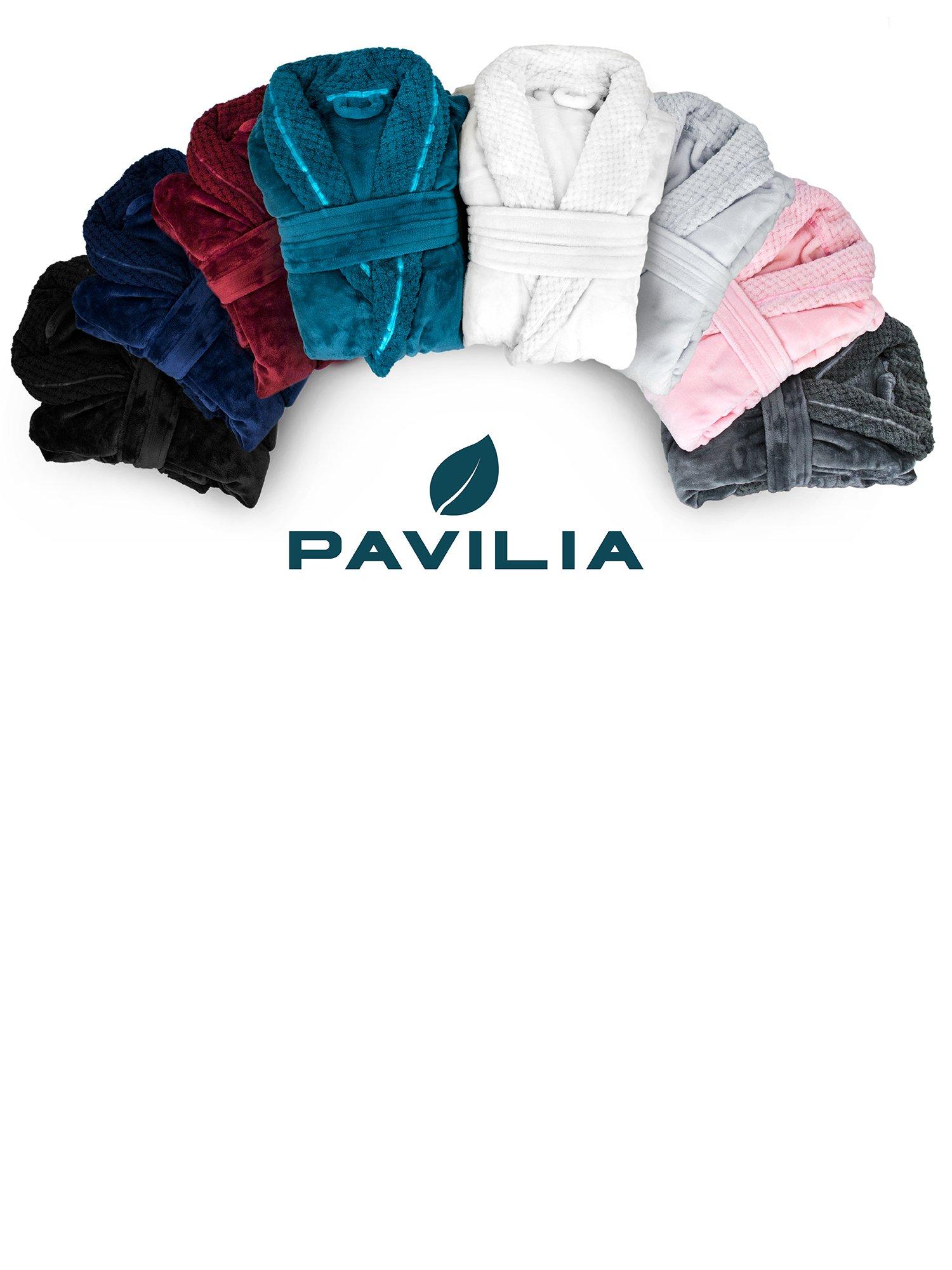 Deluxe Women Fleece Robe with Satin Trim | Luxurious Plush Spa Bathrobe Waffle Design by PAVILIA (Image #8)