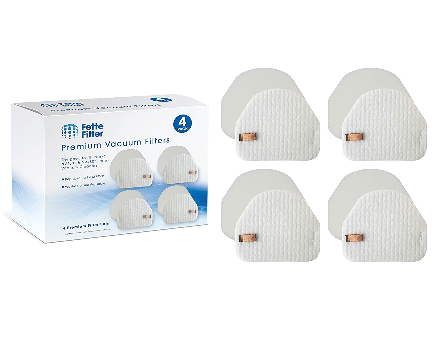 Fette Filter - 4-Pack of Vacuum Filters Compatible with Shark Professional Upright Models NV450, NV472, NV480 & NV200. Compare to Part # XFF450 - Foam & Felt Filters.