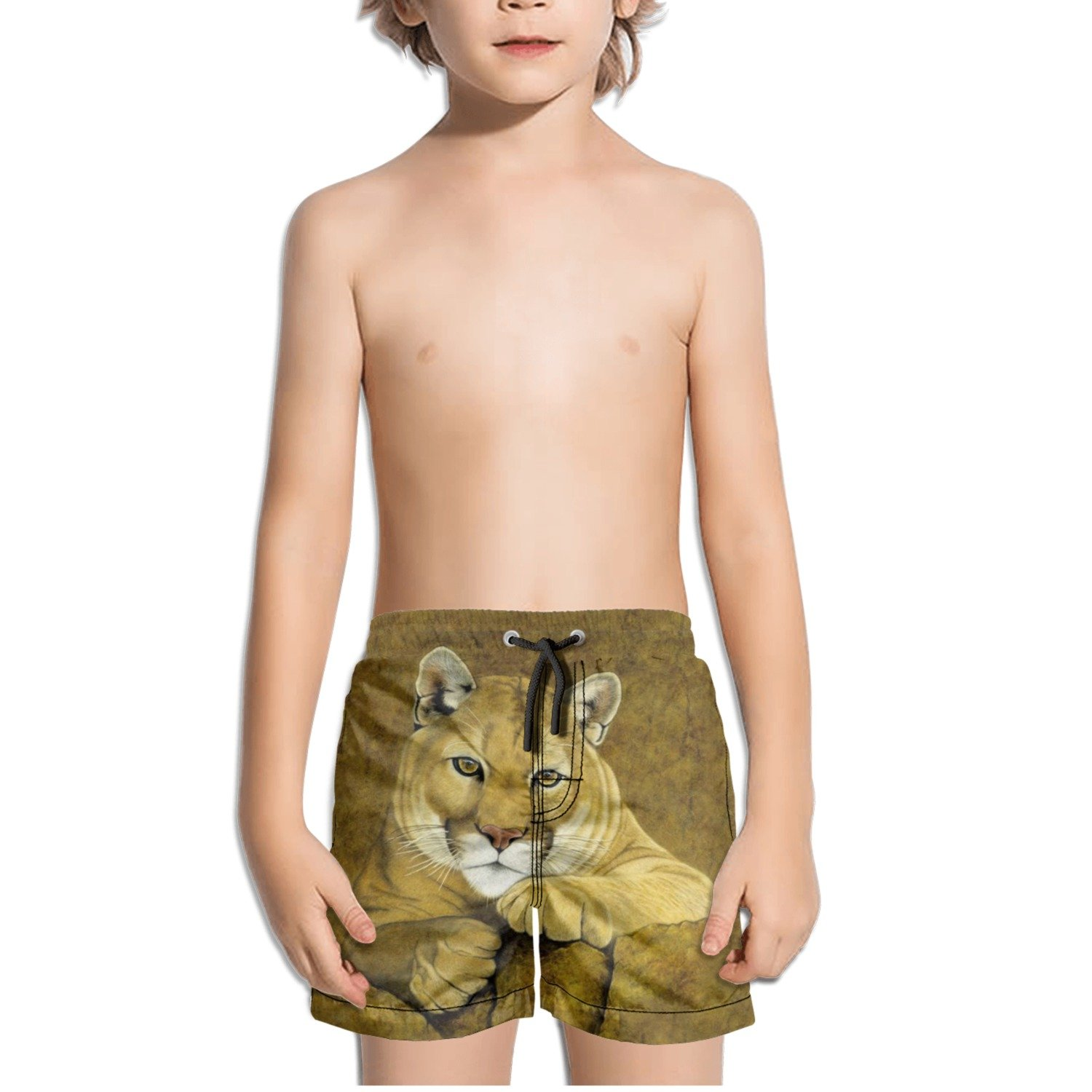 Cougar Watercolor Drawing Kids Boys Fast Drying Beach Swim Trunks Pants