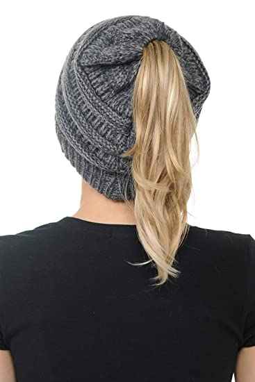 17b37885814 BYSUMMER CC Cable Knit Beanie Messy Bun Ponytail Warm Chunky Hat (2 Tone  Black and