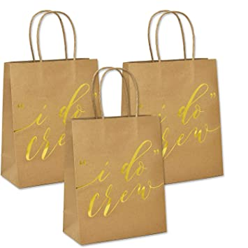 Amazon 12 I Do Crew Kraft Paper Gift Bags For Wedding