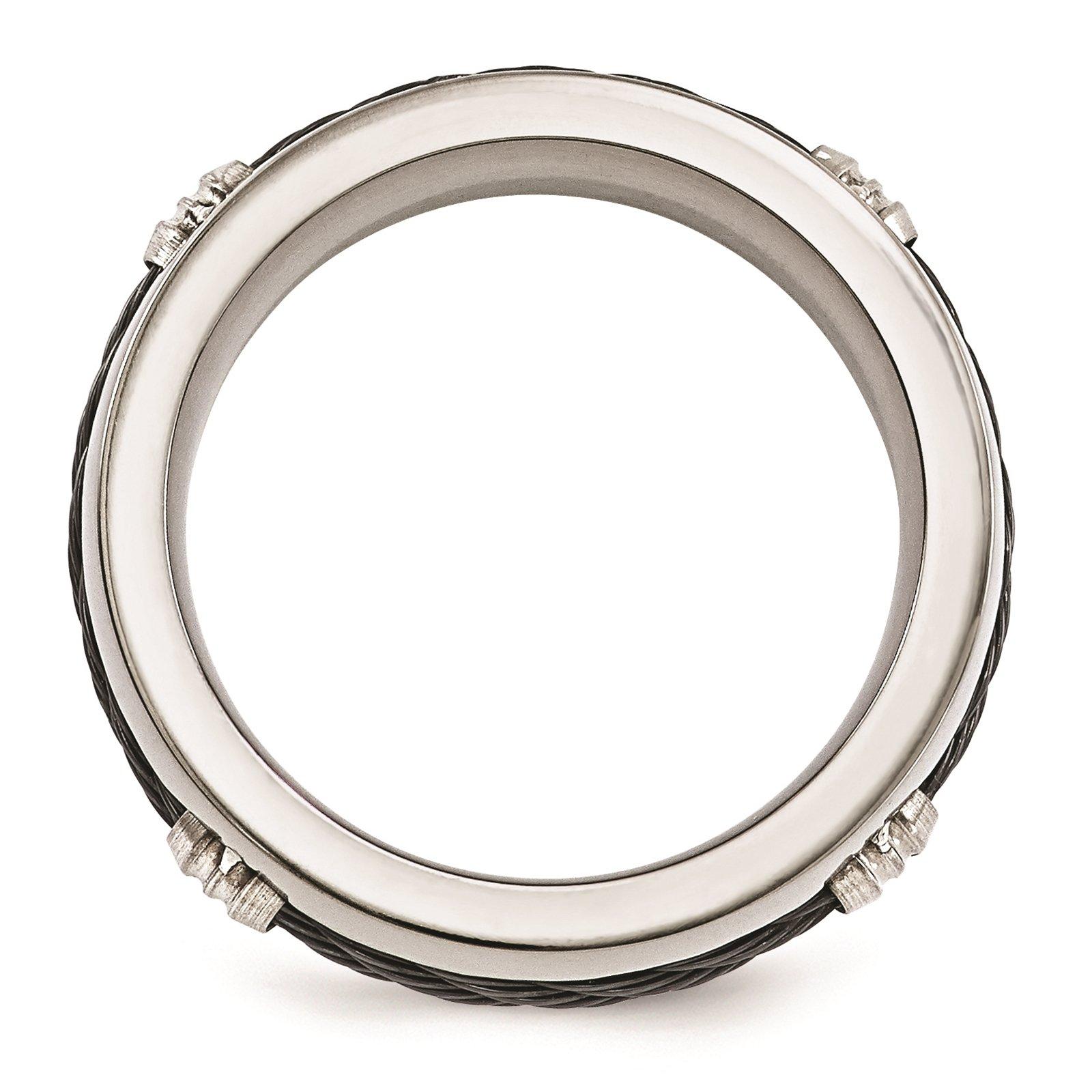 Titanium & Cable Polished 7mm Wedding Ring Band Size 8 by Edward Mirell by Venture Edward Mirell Titanium Bands (Image #2)