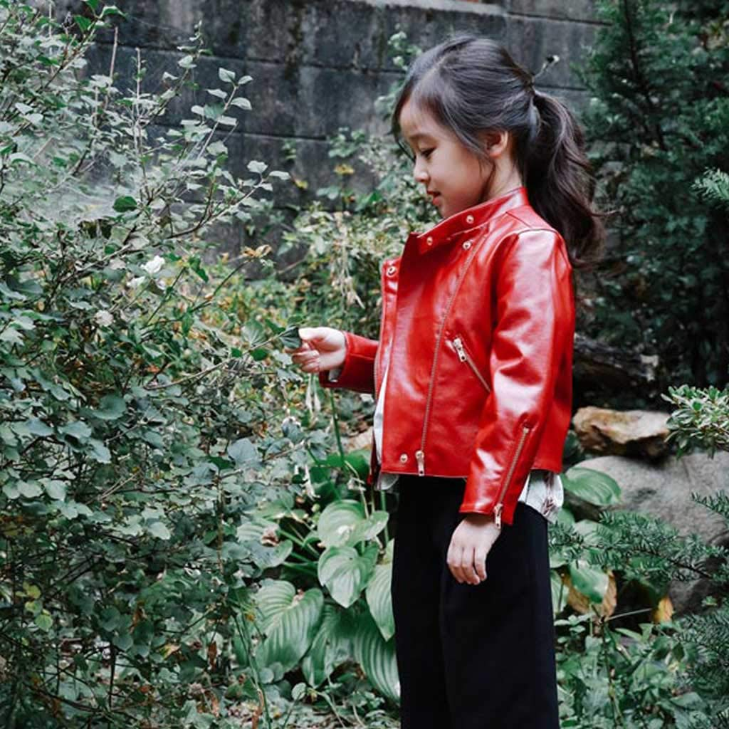Faux Leather Coat for Boys//Girls Meeyou Childrens Motorcycle Leather Jacket