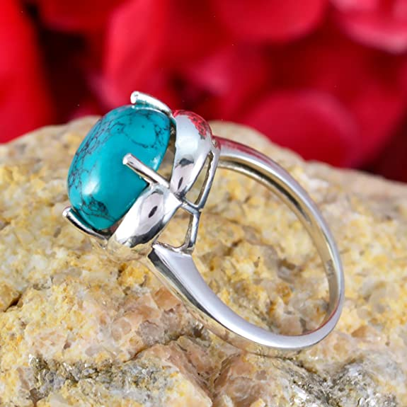 Lucky Gemstone Round cabochon Turquoise Rings Supply Jewelry Gift Bohemian 925 Sterling Silver Blue Turquoise Lucky Gemstone Ring