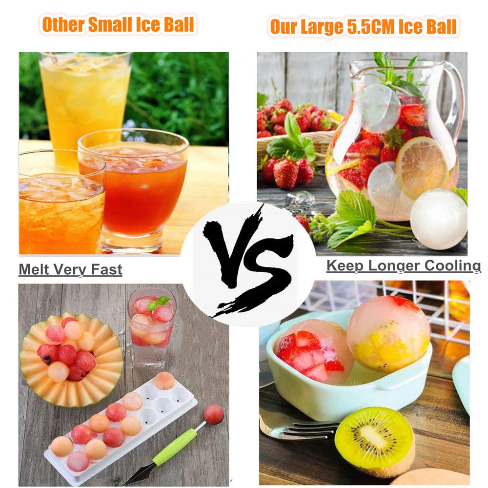 Ice Ball Tray, VSTYLE Silicone Ice Cube Mold Sphere Round Ice Whiskey Ball Maker, Makes 4Pcs 2\