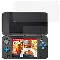 atFoliX Panzerschutzfolie für Nintendo New 2DS XL Panzerfolie - 3er Set FX-Shock-Antireflex blendfreie stoßabsorbierende Displayschutzfolie