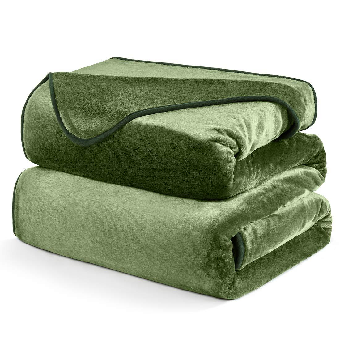 DREAMFLYLIFE Fleece Blanket Queen, Warm Soft Blanket Queen Size Luxury Velour Blankets for Bed Ivory Queen-Size, 90x90 in