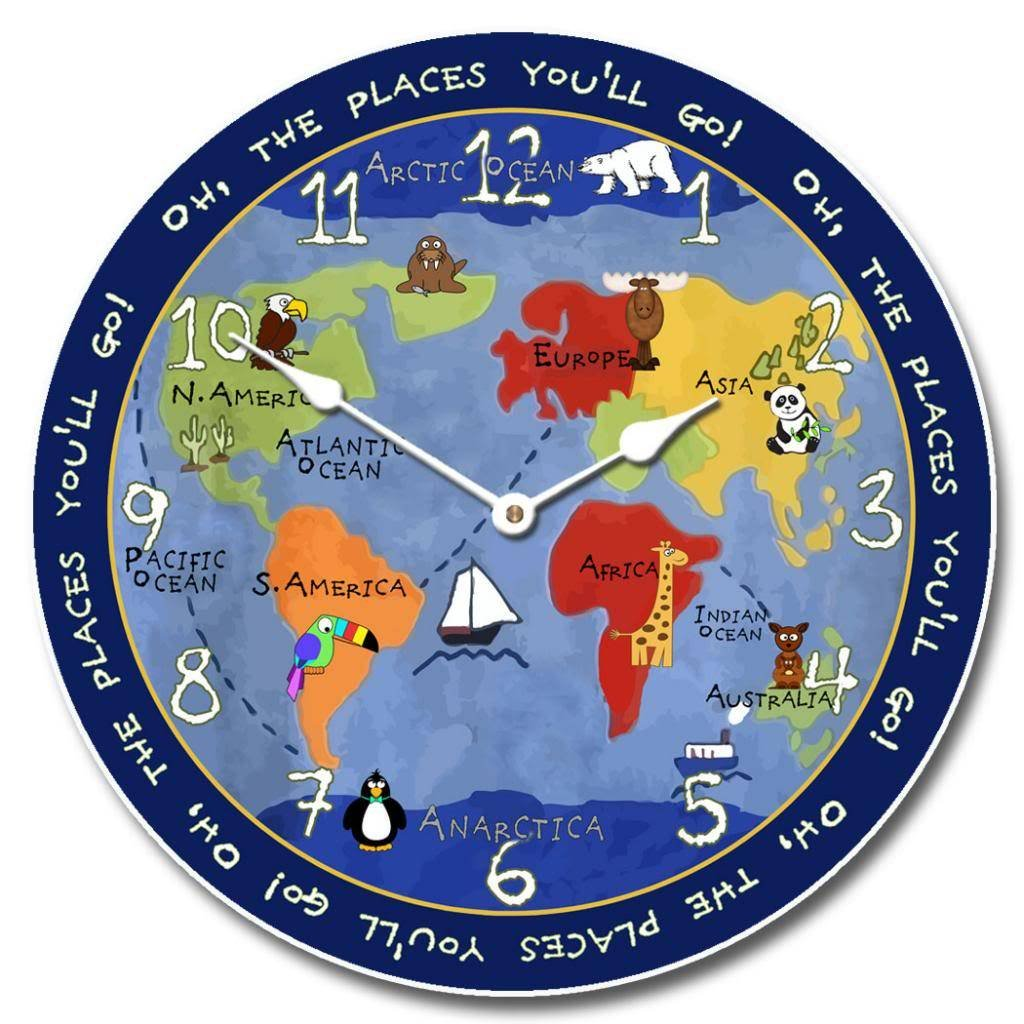 Kids World Map Wall Clock, Available in 8 sizes, Most Sizes Ship the Next Business Day, Whisper Quiet.