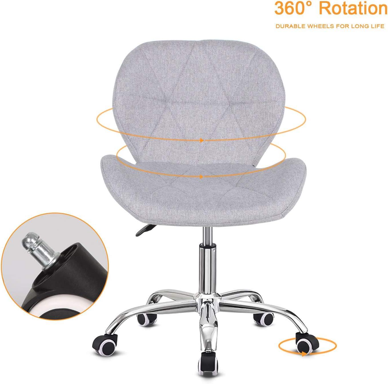 EUCO Chaise de bureau rembourrée réglable en hauteur et pivotante pour ordinateur en cuir synthétique