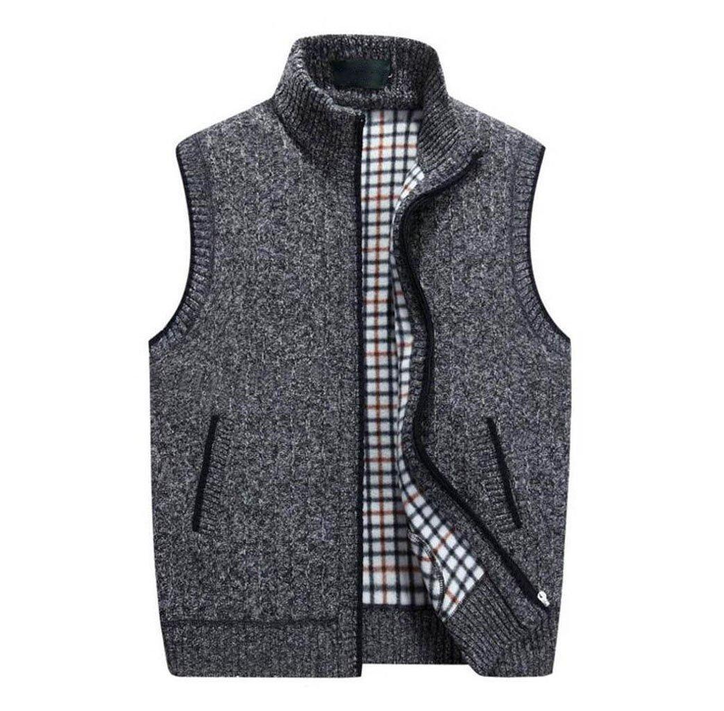 GKKXUE Chaleco de lana de punto de los hombres,Chaleco de cumpleaños de padre de tamaño M a XXXXL (Color : Gris oscuro, Tamaño : XXXXL)
