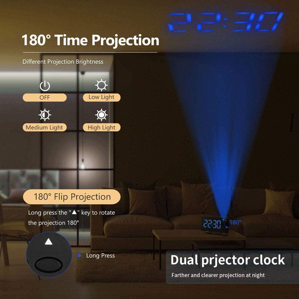 chiffres bleus ultra-transparents r/éveil de voyage Senli R/éveil num/érique LED avec port USB 15 radio-r/éveils FM avec projection grand /écran LED 8 pouces 4 luminosit/é r/églables