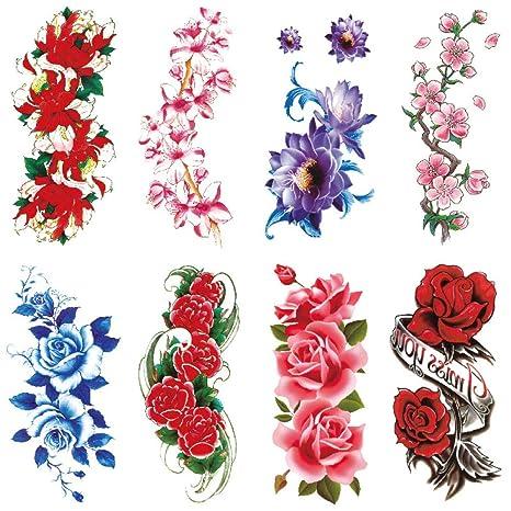 3PCS pegatinas de tatuaje de flores a prueba de agua damas color ...
