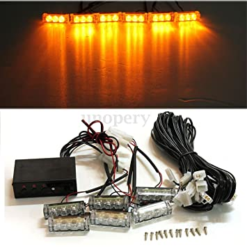 Ámbar 18 LED amarillo lámpara luces de coche parrilla ...