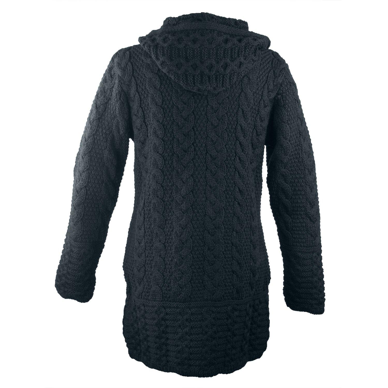 100% Irish Merino Wool Ladies Hooded Aran Zip Sweater Coat by West End Knitwear