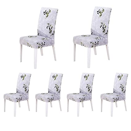 Soulfeel Set Of 6 Stretch Chair Covers For Dining Room Removable Fitted Seat Slipcovers Protector Panda And Bamboo