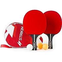 STRIKIN Tischtennis-Set Sports | 2 Allround Tischtennisschlaeger | Doppelschläger-Hülle | 3x3 Stern Bälle | Langlebige Beläge | Ergonomische Griffschalen | Garantie