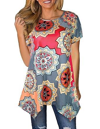c6142cf4c5c Sanifer Women Floral Short Sleeve Irregular Hem Tunic Tops Asymmetrical Tunics  T-Shirts Blouses at Amazon Women's Clothing store: