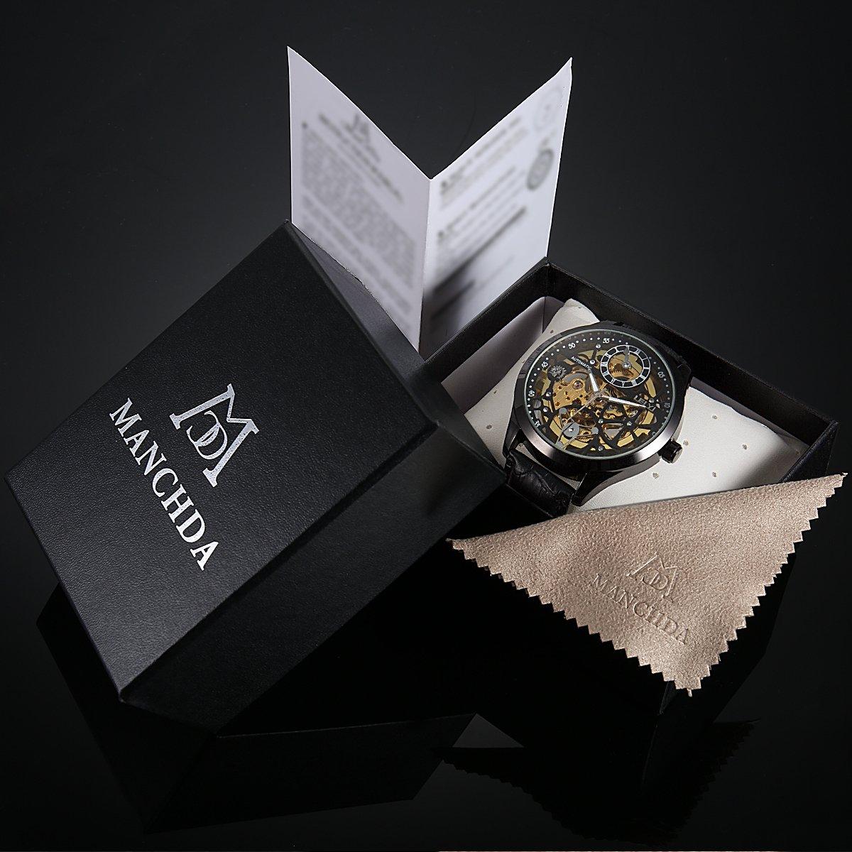ManChDa Big Case 47MM XL Automatic Mechanical Crystal Black Leather Wrist Watch + Gift Box by ManChDa (Image #7)