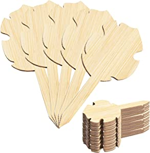 50pcs Bamboo Plant Markers Tags, Garden Plants Labels Cute Plant Tag Wood Garden Markers for Seedling Eco-Friendly Garden Label for Flower Vegetables Herb Signs ( Leaf )