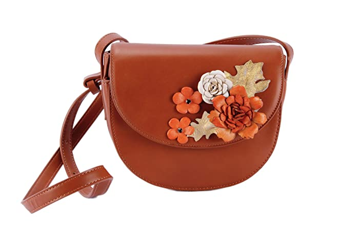 3cd286ca80 Floral Brown Leather Crossbody Bag-Genuine Leather Boho Saddle Bag Purse-Vegan  Shoulder Bag-Wife 3rd Anniversary Gift Wedding from Husband-Cross Body ...