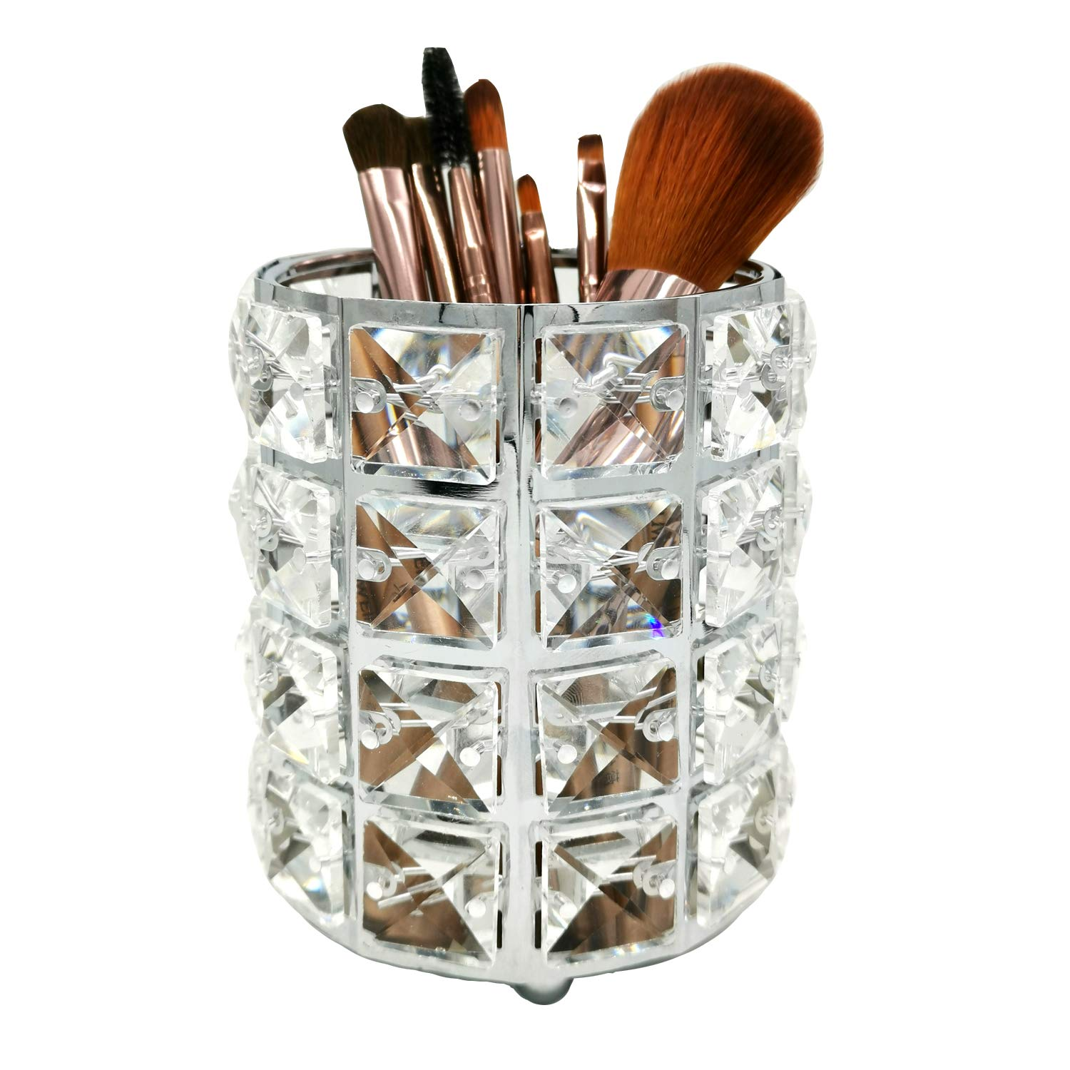 WILTEEXS Makeup Brush Holder Crystal Makeup Organizer Cosmetics Container Storage for Brushes Lipsticks (Silver)