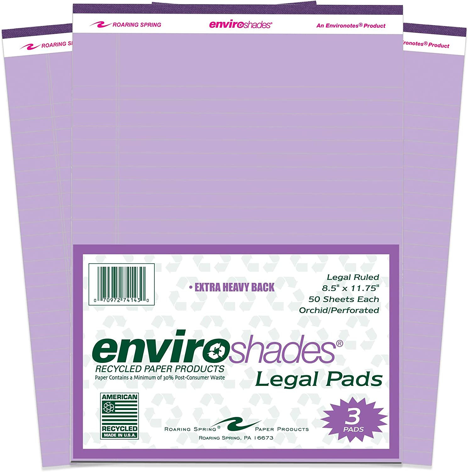 Roaring Spring Enviroshades Recycled Legal Pads, 3 Pack, 8.5