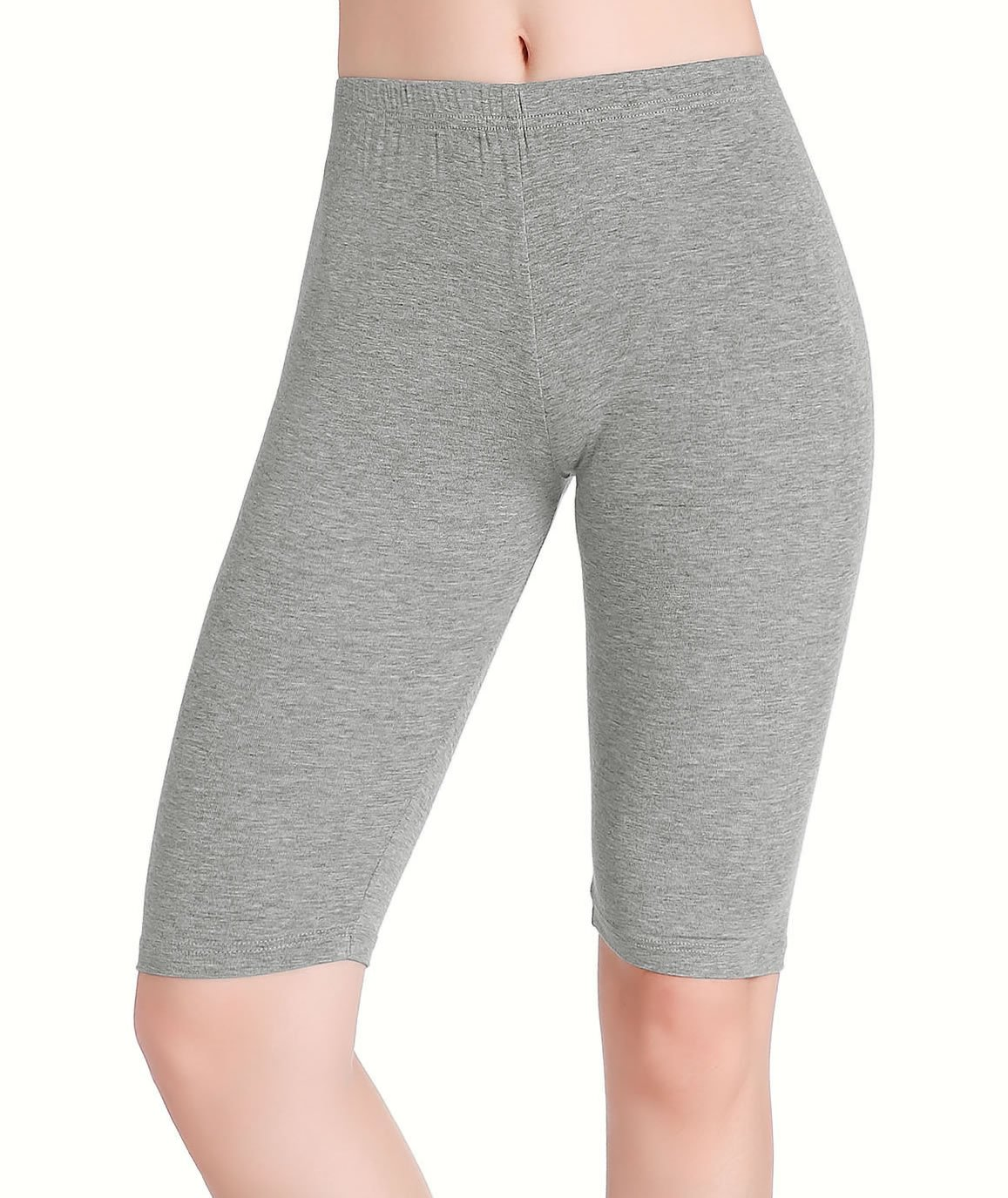 CnlanRow Womens Under Skirt Pants Soft Ultra Stretch Knee Length Leggings Fitness Sport Shorts,Medium,Light Gray by CnlanRow (Image #3)