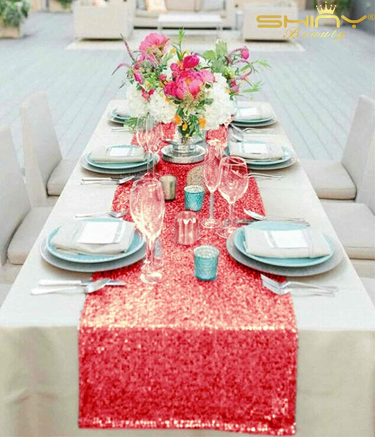 ShinyBeauty Sparkly Red Sequin Table Runner For Wedding/Events Decoration 30*180cm (Can Choose Your Color) (Red Color) : Amazon.co.uk: Kitchen & Home
