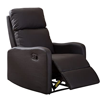 BONZY Recliner Chair Contemporary Black Leather Recliner Chair For Modern  Living Room